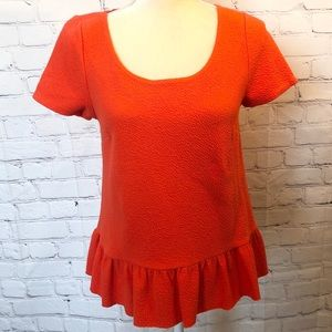 Postmark | Anthro orange ruffle back peplum blouse